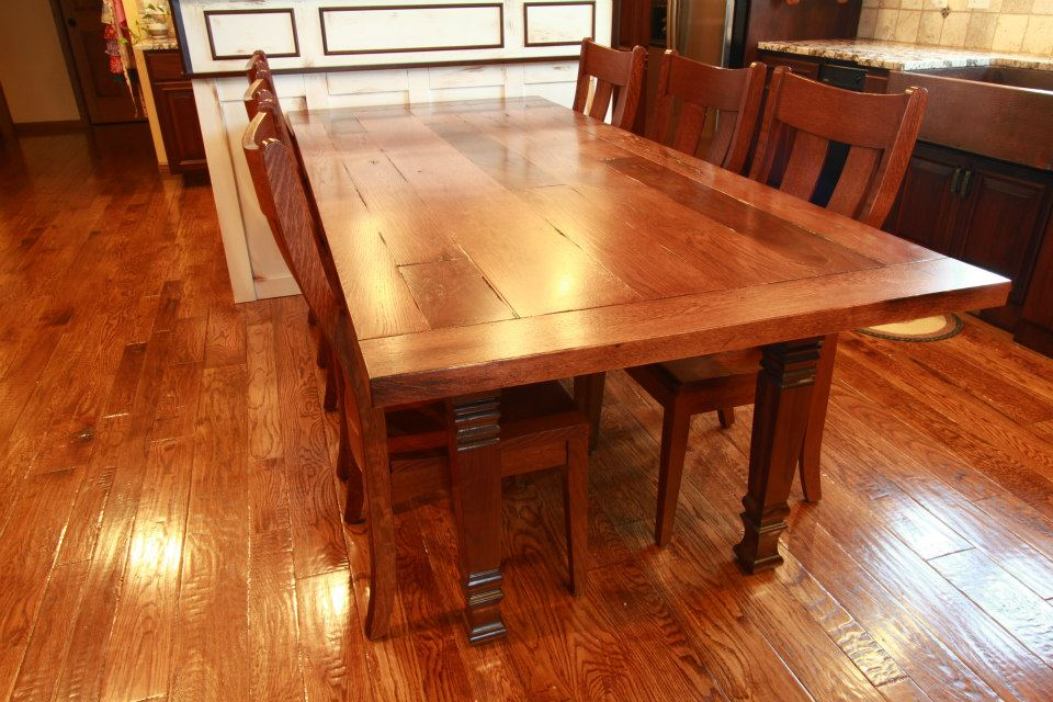Eastern butcher block table and chairs e7 lot 32 butcher block table butcher block dining - Custom kitchen table ...