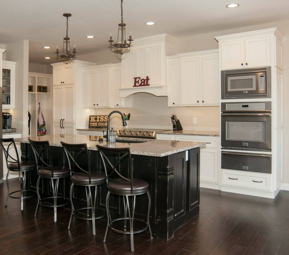 Dark Kitchen Cabinets With Off White Island